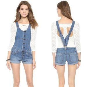 Free People Century Button Front Short Overalls